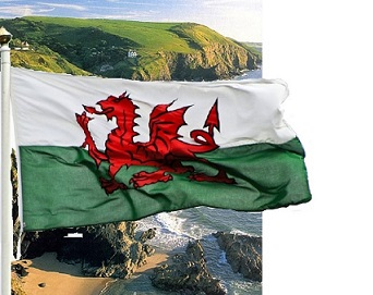Wales beach and flag